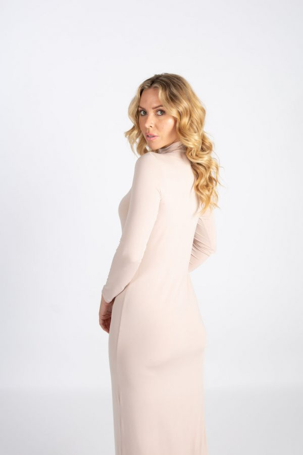 creme long sleeve dress