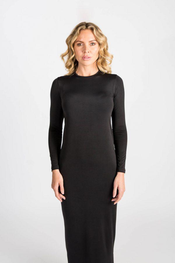 casual black maxi dress
